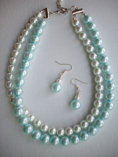 White and Baby Blue Double Strand Pearl by DesignsbyPattiLynn, $55.00