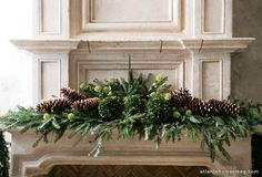 Mantle with boxwoods and pine cones