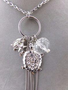 Long Silver Chain Turtle Drop Necklace Earrings Set Fashion Jewelry NEW #BijouxStella