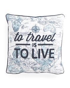 Made In India 20x20 To Travel Is To Live Map Pillow