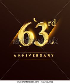 63rd anniversary glowing logotype with confetti golden colored isolated on dark background, vector design for greeting card and invitation card.