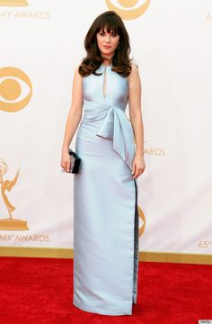 zooey deschanel emmys dress 2013.  Love this! Probably because Zooey is wearing it, but a girl can dream.  And her manicure is really cool. #jmendel