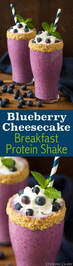 Blueberry Cheesecake Protein Breakfast Shake - 18g protein. Tastes so much like a slice of heavenly cheesecake but in a healthier shake form! Loved this!