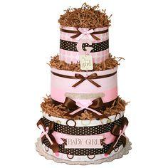 "elegant diaper cakes | Simple ""G"" It's for a Girl Diaper Cake"