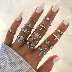 Shop & Buy 14 Pcs/set Vintage Heart Cross Crystal Buddha Flower Geometric Silver Finger Ring Set Women Fashion Party Wedding Jewelry Online from Aalamey Gypsy Rings, Bohemian Rings, Vintage Heart, Vintage Rings, Sapphire Wedding, Stylish Rings, Delicate Rings, Natural Diamonds, Shoes