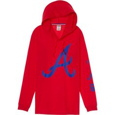 PINK Atlanta Braves Campus Hoodie Tee ($45) ❤ liked on Polyvore featuring tops, red, long sleeve tops, pink top, red long sleeve top, pink long sleeve top and red top
