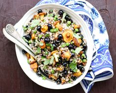 Farm On Plate: Chanterelle Buckwheat Salad with Wild Blueberries