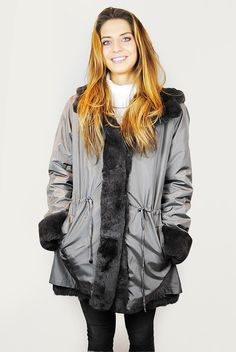 JESSIMARA GREY SILK RABBIT REVERSIBLE COAT