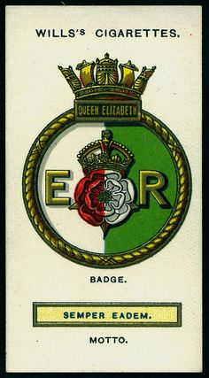 Cigarette Card - Ships Badge of HMS Queen Elizabeth
