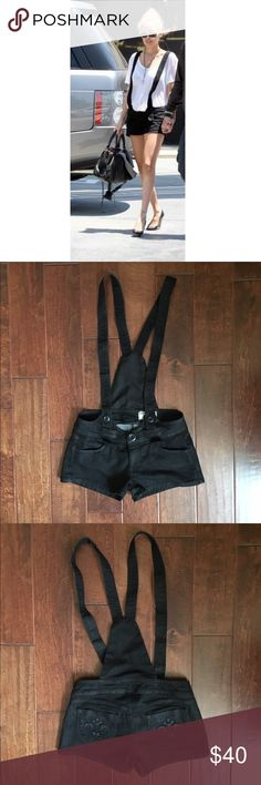 Siwy Brigitte Black Cotton Romper Shorts As seen on Nicole Richie, these Siwy romper shorts with built in suspenders are perfect for spring,summer, and even Fall if you live in the LA area. In good condition. Siwy Other