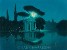 """""""Fireflies"""". A Romantic nocturne influenced by Maxfield Parrish, Edmund Dulac and Heath Robinson.Oil on linen 16"""" x 12""""."""