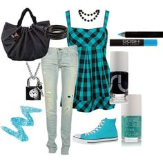 cute outfits for school | Fashion » Cute teal outfit-I love the shirt! I would turn this outfit to a modest one by taking the shirt with a jean skirt and short sleeved jean jacket