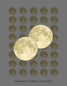Full Moon 1 Inch Circle Collage Sheet for Jewelry and Crafts * Printable, Instant Download