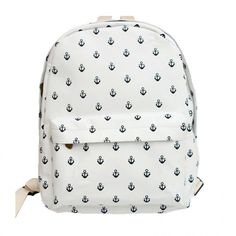 White Navy Anchor Print Canvas Backpack