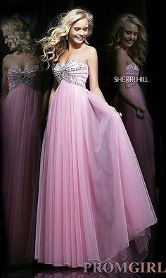 Strapless Sweetheart Empire Waist Dress at PromGirl.com