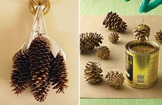 Dip-paint pine cones (Martha Stewart has an awesome new line of metallic and glitter paints that would be perfect for this :)).