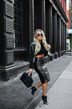 justthedesign: A leather midi skirt will go a treat with a matching black crop top and heels. Via Angelica Blick.Heels: Daisy Street, Top: Zara, Skirt: Asos.
