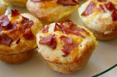 Bacon, Egg & Cheese Biscuit Muffins. Make ahead and warm in tin foil at camp?