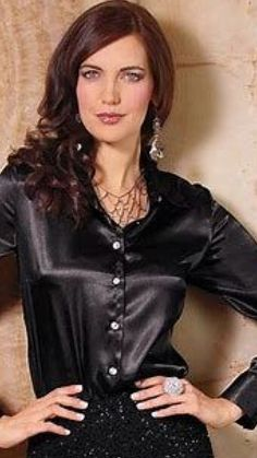 Satin Blouses, Black Satin, Silk Satin, Her Style, Work Wear, Sexy, Casual, How To Wear, Collection