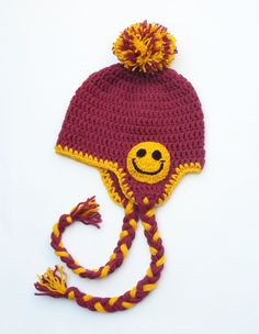 Kids Fall Winter Hat with Smiley, Happy and Smiley Hat for Girl 3-10yr, Crochet Pom Pom Hat , Earflap Hat with Braids,  Ready to ship