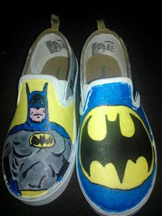 Batman hand painted shoes by LoveInspiredGoods on Etsy, $40.00
