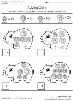 Adding Coins Worksheets - On the first worksheet in this set your students will… Money Worksheets, Kids Math Worksheets, Addition Worksheets, Number Worksheets, Alphabet Worksheets, Teaching Money, Teaching Kids, Kids Learning, School Lessons