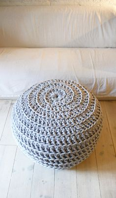 Super Giant Pouf Crochet Thick Cotton Grey by lacasadecoto