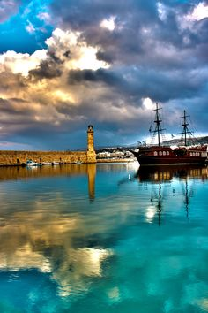 lighthouse, old town of Rethymno, Crete, Greece