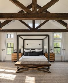 Modern Farmhouse-Upstate - Farmhouse - Bedroom - New York - by Crisp Architects Tan Bedroom, Bedroom Decor, Bedroom Ideas, Bedroom Lighting, Master Suite Bedroom, Master Master, Bedroom Modern, Bedroom Colors, Bedroom Inspiration