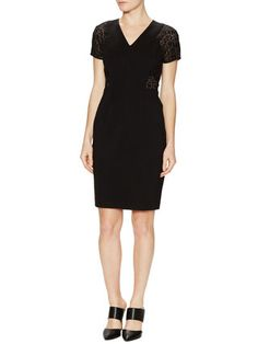 REBECCA TAYLOR - V-Neck Dress with Lace Cap Sleeves