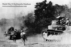 Type 89 B I-Go Otsu (Chi-Ro)  From the caption: Japanese Imperial Army Type 89b tanks of the 3rd Company, 7th Tank Regiment, 14th Imperial Japanese Army, during the advance on Luzon, probably on Route 5 moving towards Baliuag.