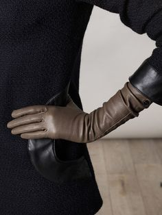 AGNELLE Unlined long leather gloves