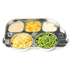 Stainless steel kids platter. brings tv dinner to whole different light don't you think? Vvvvery cute! Item can be purchased @ mysweetmuffin.com.