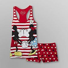 Disney- -Mickey & Minnie Mouse Women's Short Pajamas - And of course I had to get the pj's, too!!!