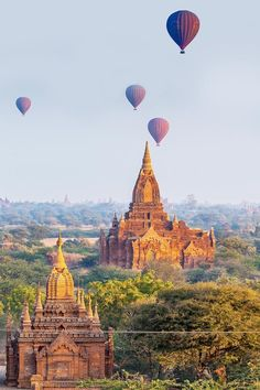 Hot Air Balloons over The Secret Ancient City of Bagan, Myanmar Pamukkale, Places Around The World, Oh The Places You'll Go, Places To Travel, Travel Pics, Travel Quotes, Travel Ideas, Travel Destinations, Air Balloon Rides