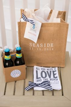 Natural Chic Navy And Orange Wedding Wedding Gift Bagswedding