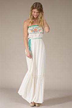 Strapless Maxi Dress With Tassel Belt And Floral (FREE SHIPPING)  $53.00