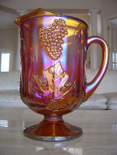 Indiana Glass Co Amber Harvest Carnival Glass Pitcher by suvonoge