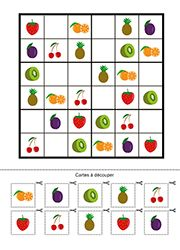 Jeu de sudoku à imprimer, les fruits