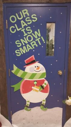 "Winter bulletin board-- ""Our class is snow smart!"""