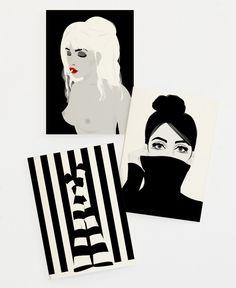 Blacky Set als Grußkarten-Set von Ctoft | JUNIQE  https://www.juniqe.de/blacky-set-gift-card-set-of-3-321228.html