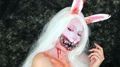 Do you remember the white Rabbit from Alice in Wonderland? well here is my Halloween version! Im so sad it has come to the end of Halloween tutorials - ke. Bunny Halloween Makeup, Bunny Makeup, Rabbit Halloween, Unicorn Makeup, Scary Halloween, Halloween Costumes, Halloween 2016, Halloween Party, Haunted House Makeup