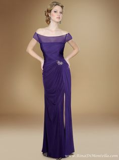 Mother of the bride dress by Rina Di Montella, style 1745  STRETCH ENGLISH NET GOWN W/SHAWL AMETHYST, BERRY, CHOCOLATE, IVORY, MAGENTA, NAVY, PURPLE, ROYAL COLORS | SIZES 4-28  http://RinaDiMontella.com/view.php?cat=mother-of-the-bride=1745