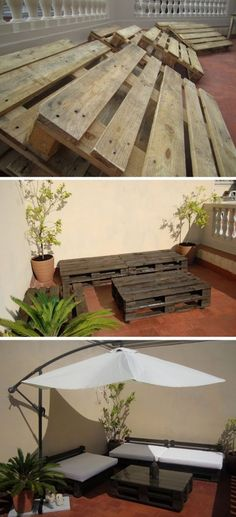 Way better than the $3,000 patio set from Costco...Pallet furniture!@Angela Gray…