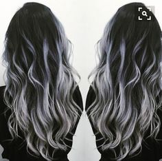 Black to gray silver balayage - Hair - Hair Colored Curly Hair, Long Curly Hair, Curly Hair Styles, Natural Hair Styles, Grey Hair Long Styles, Natural Beauty, Black Balayage, Ombre Hair Color, Gray Ombre