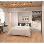 """Bestar Boutique Full Wall Bed with One 36"""" Storage Unit and Drawers in White .......guest room"""