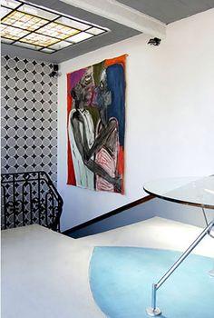 Javier Echenike. Pintura. restauración Casa Oro, Soho Palermo Buenos Aires. Escalera marmol carrara