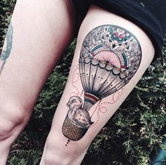 Hot Air Balloon Tattoo Design by Jessica Svartvit