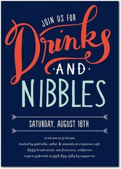 Drinks and Nibbles - Corporate Event Invitations in Baltic or Mustard | Petite Alma