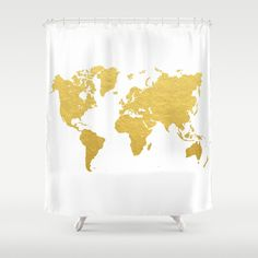 Gold+World+Map+Shower+Curtain+by+Samantha+Ranlet+-+$68.00